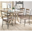 Hillsdale Charleston Round Wood Table w/ Metal Pedestal Ring - Shown with Ladder Back Dining Chairs