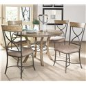 Hillsdale Charleston Round Wood Table w/ Metal Pedestal Ring - Shown with X-Back Dining Chairs