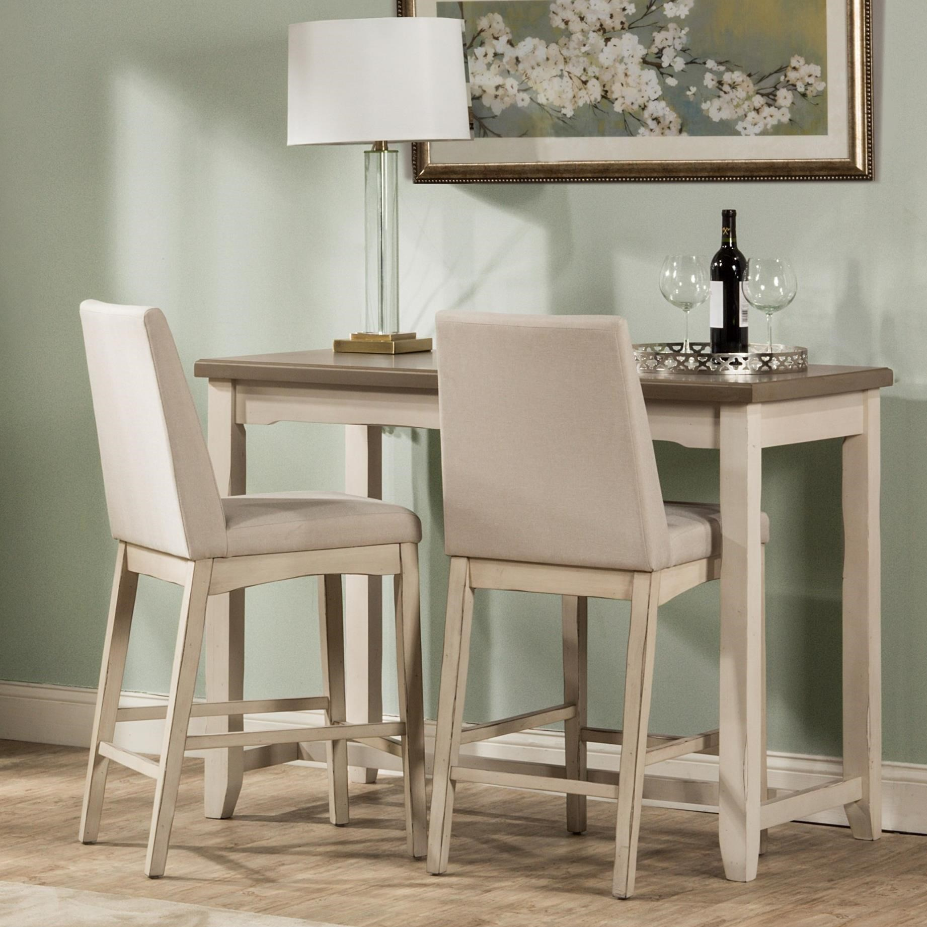 Hillsdale Clarion 3 Piece Counter Height Dining Set With Side Table And Parson Chairs Novello Home Furnishings Pub Table And Stool Sets