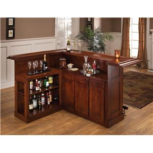 Morris Home Furnishings Classic Oak 625 Large Cherry Bar with Side Bar