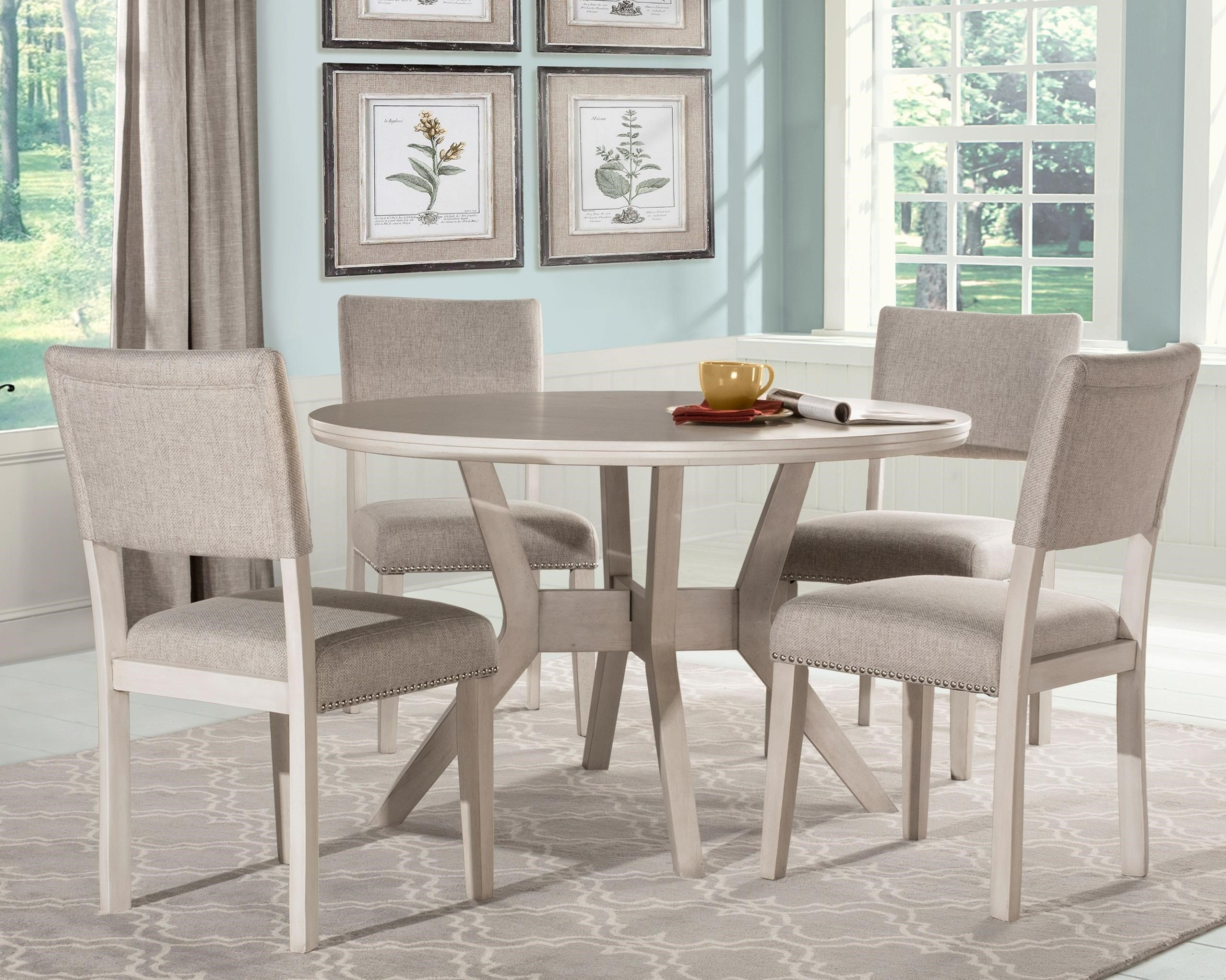 Hillsdale Elder Park Round Dining Table Set With 4 Chairs Conlin S Furniture Dining 5 Piece Sets