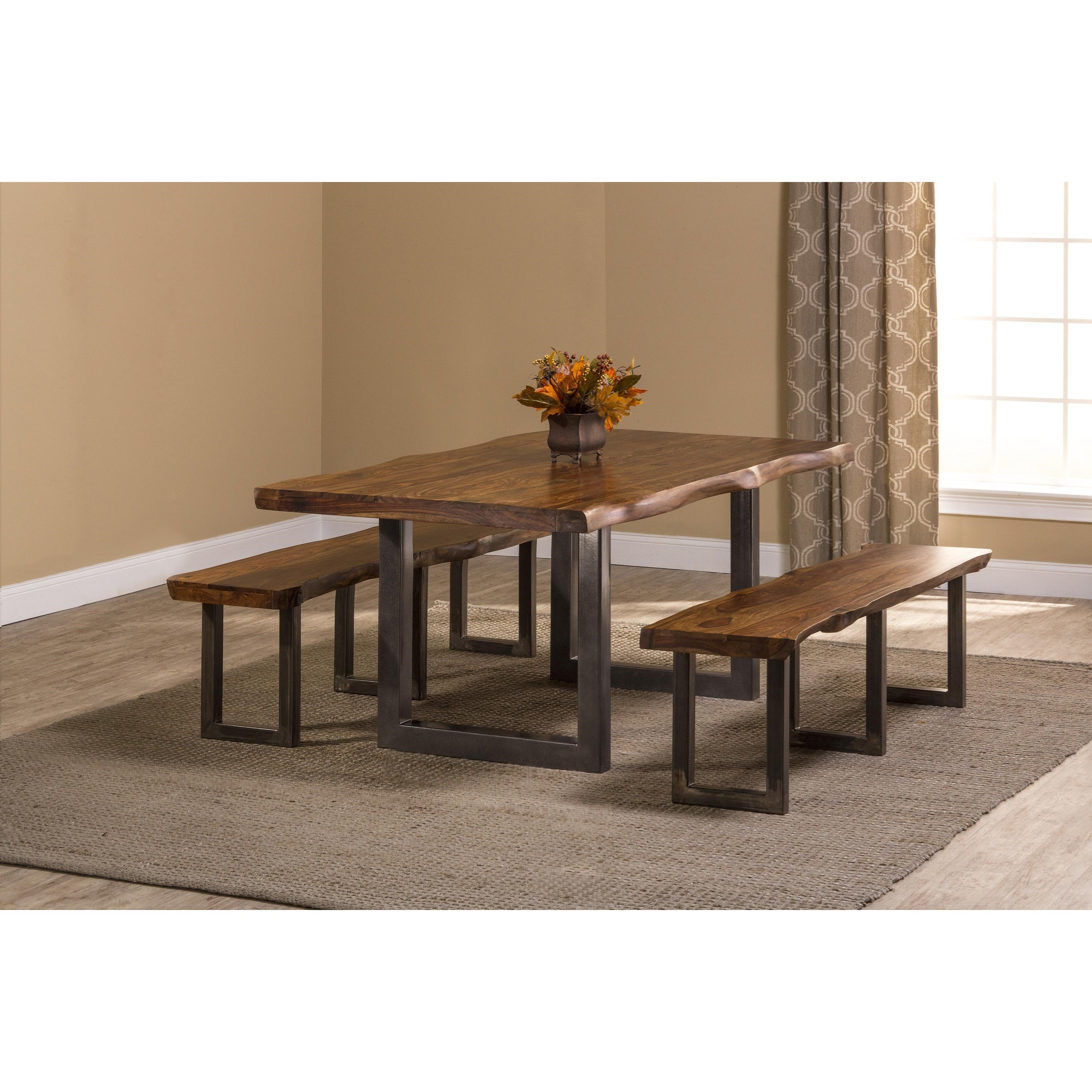 Rectangle Dining Table With Bench: Hillsdale Emerson Natural Sheesham Wood Rectangular Dining