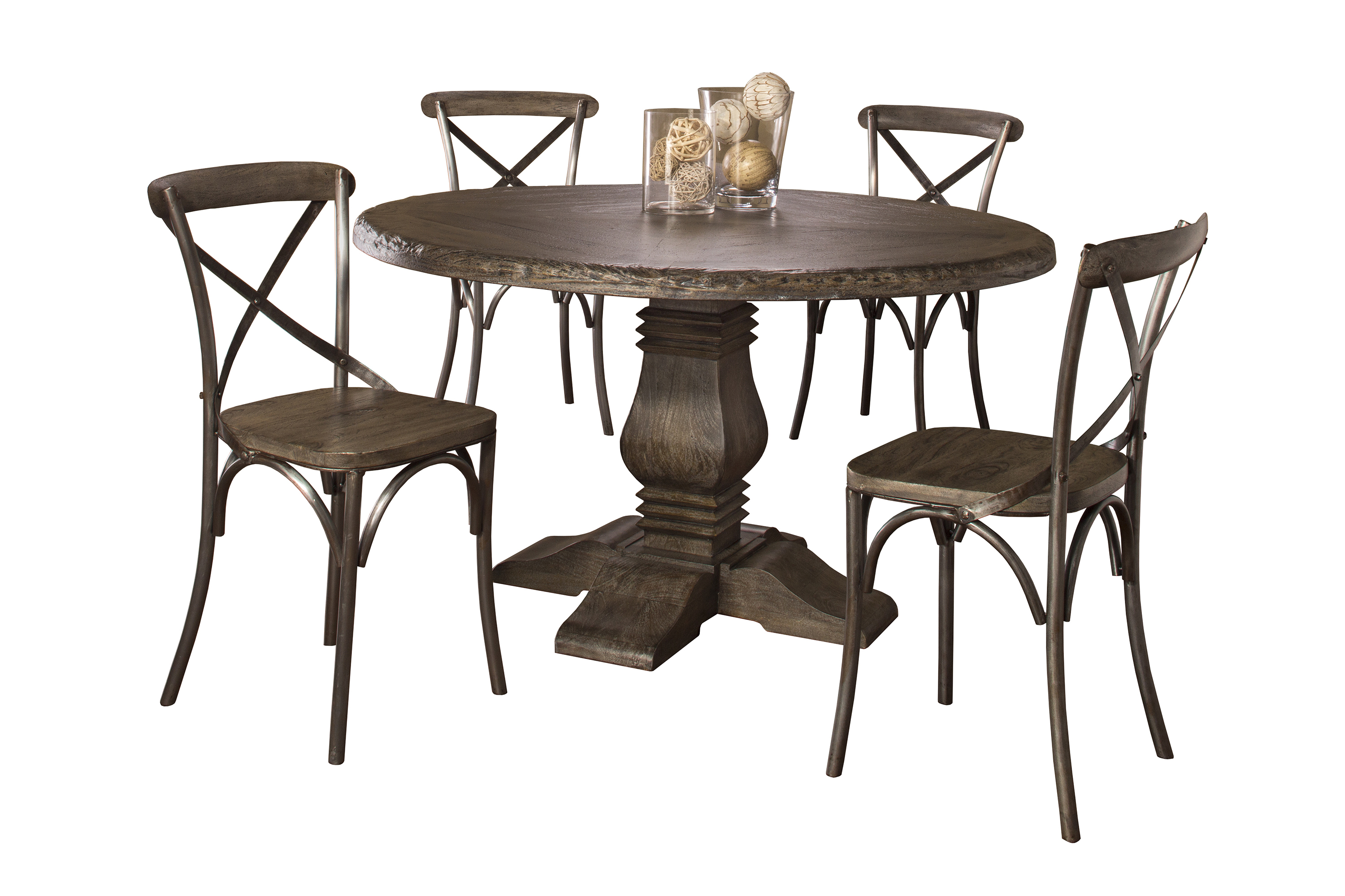 Hillsdale Lorient 5-Piece Round Dining Set with X Back Chairs - Item Number: 5676DTRDS5