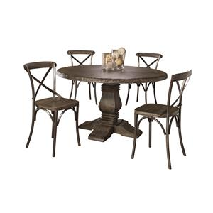 Hillsdale Lorient 5-Piece Round Dining Set with X Back Chairs