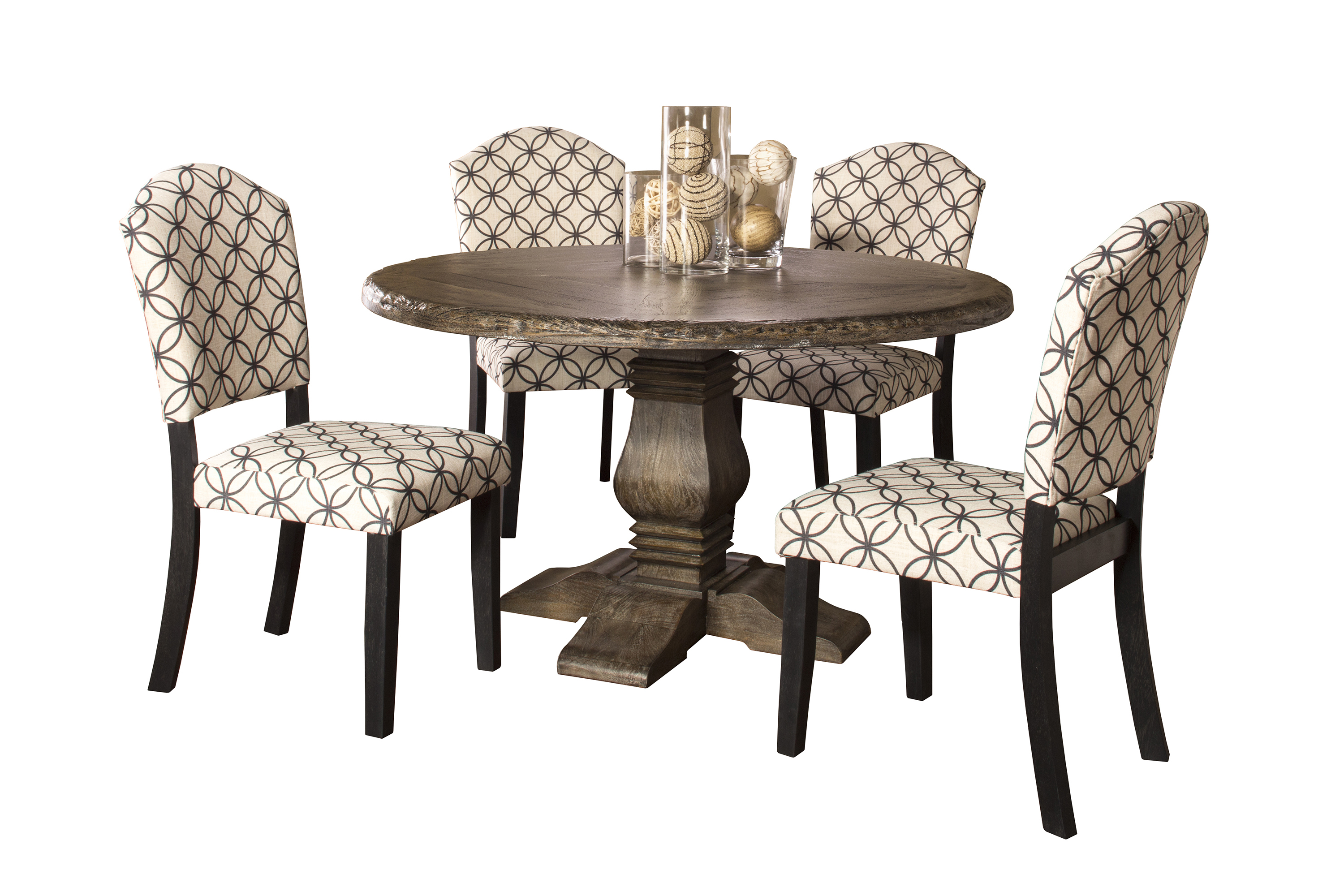 Hillsdale Lorient 5-Piece Round Dining Set with Parsons Chairs - Item Number: 5676DTRDSP5