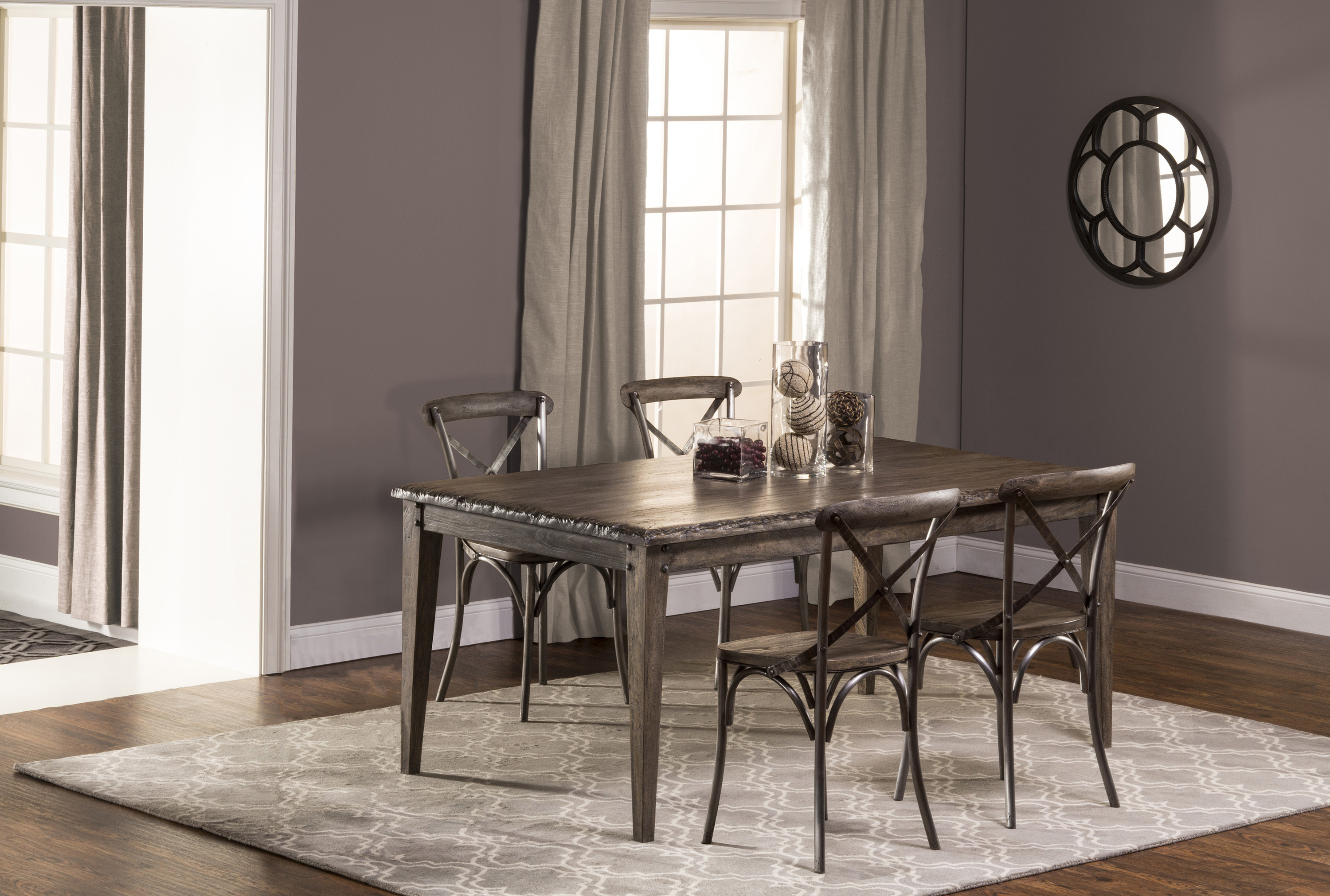Hillsdale Lorient 5-Piece Rectangle Dining Set with X Back Din - Item Number: 5676DTRS5