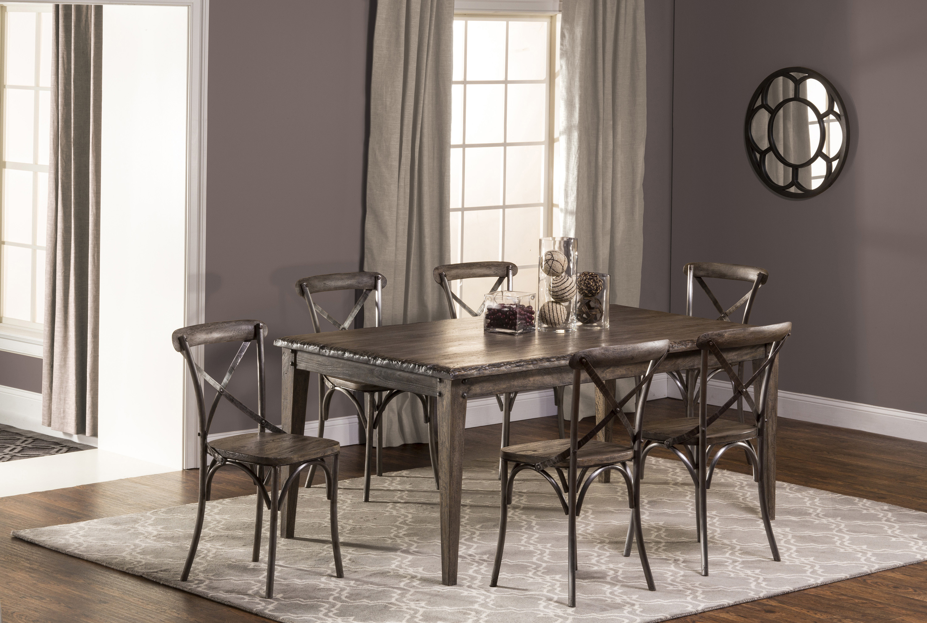 Hillsdale Lorient 7-Piece Rectangle Dining Set with X Back Din - Item Number: 5676DTRS7