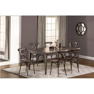 Hillsdale Lorient 7-Piece Rectangle Dining Set with X Back Din