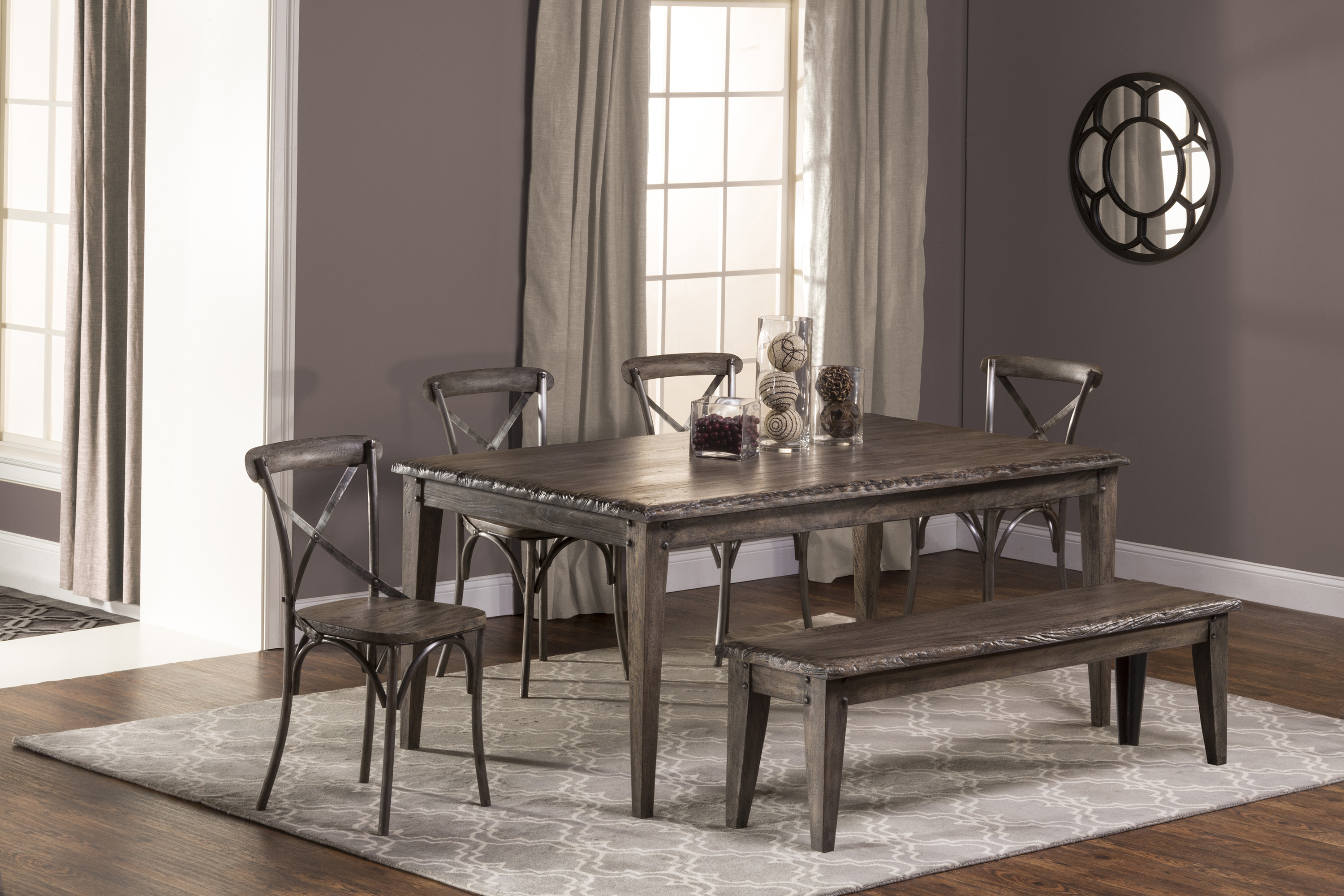 Hillsdale Lorient 6-Piece Rectangle Dining Set with X Back Din - Item Number: 5676DTRSB6