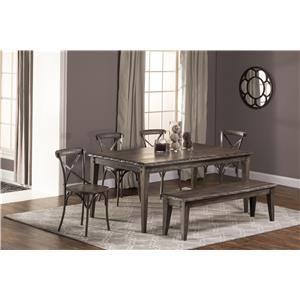 Hillsdale Lorient 6-Piece Rectangle Dining Set with X Back Din