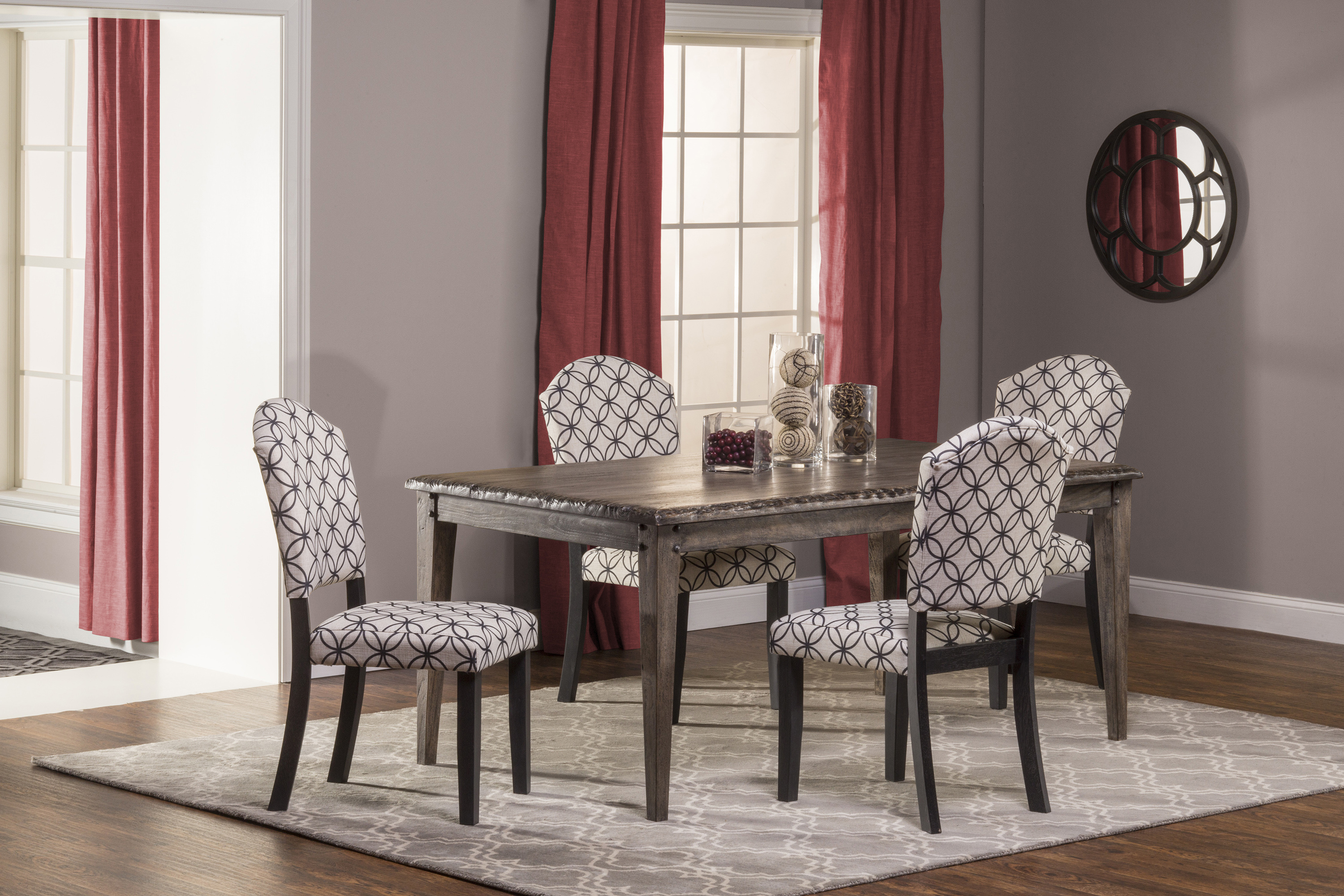 Hillsdale Lorient 5-Piece Rectangle Dining Set with Parsons Di - Item Number: 5676DTRSP5