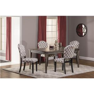 Hillsdale Lorient 5-Piece Rectangle Dining Set with Parsons Di