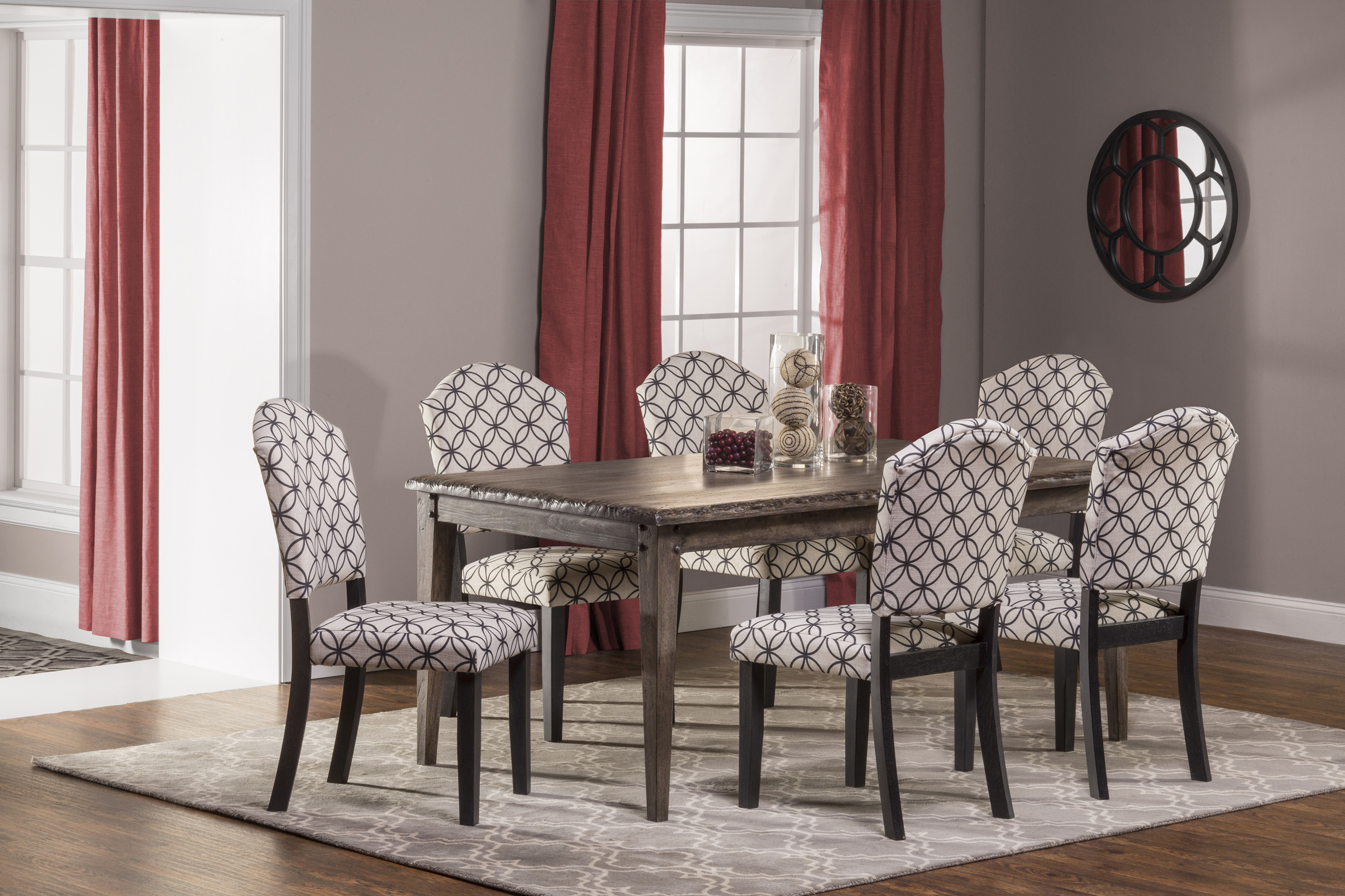 Hillsdale Lorient 7-Piece Rectangle Dining Set with Parsons Di - Item Number: 5676DTRSP7