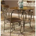 "Hillsdale Montello Dining Chair with Brown Faux Leather - 41543 - Shown with 36"" Round Dining Table"