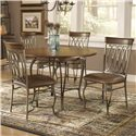 "Hillsdale Montello Dining Chair with Brown Faux Leather - 41543 - Shown with 45"" Round Dining Table"