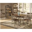 "Morris Home Furnishings Montello Four Shelf Baker's Rack - Shown with Stool, 45"" Round Dining Table, and Dining Chairs"