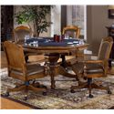 Morris Home Furnishings Nassau Nassau Single Pedestal Game Table - Shown with Game Top Flipped Up and Chairs