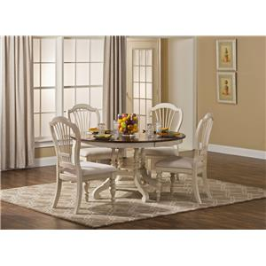 Hillsdale Pine Island Five Piece round Dining Table Set
