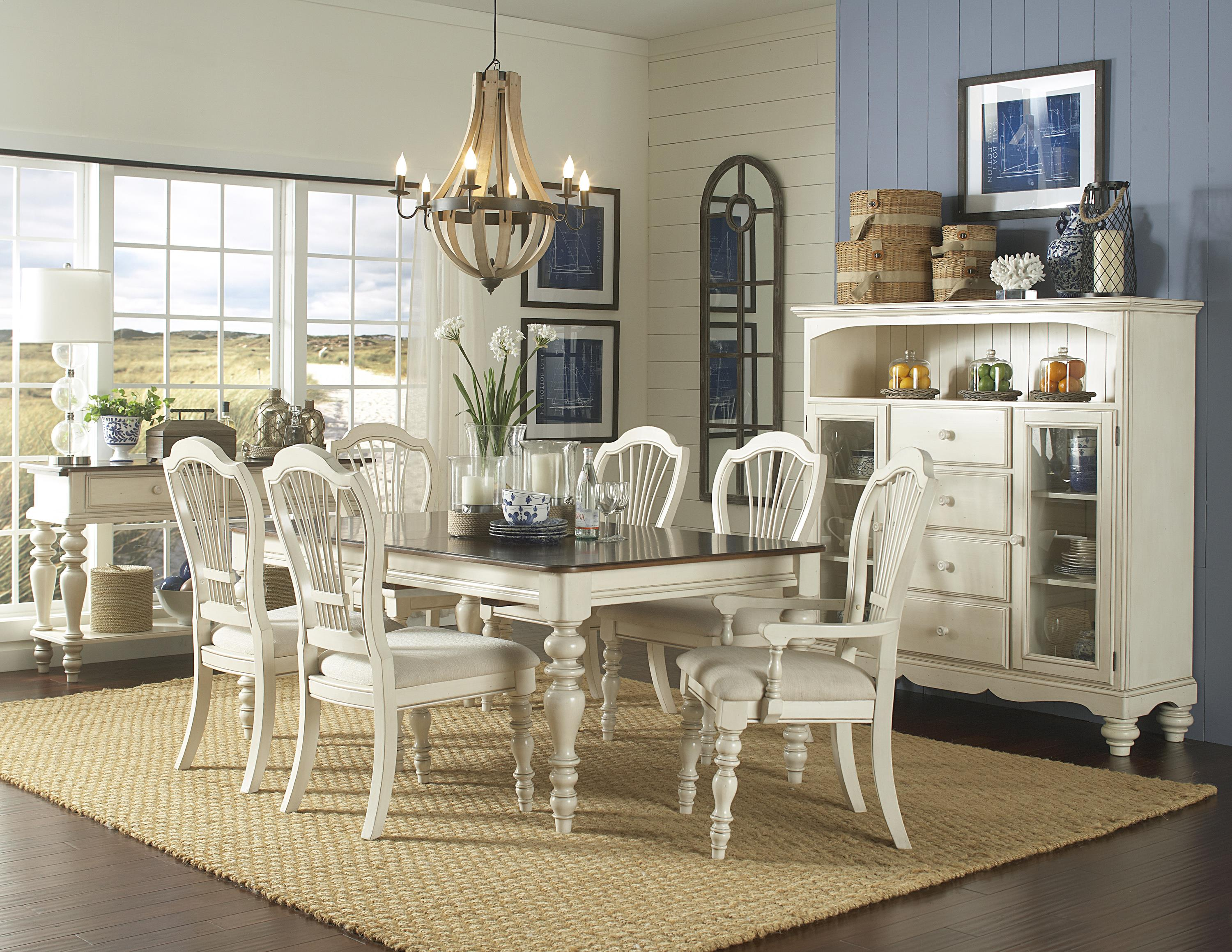 Hillsdale Pine Island 7 Piece Dining Set with Wheat Back Arm and
