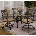 "Morris Home Furnishings Pompei Slate Accented Dining Chair with Casters - Shown with 48"" Round Dining Table"