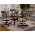 "Morris Home Furnishings Pompei Slate Accented Dining Chair with Casters - Shown with 48"" Round Dining Table and Bar Height Swivel Stool"