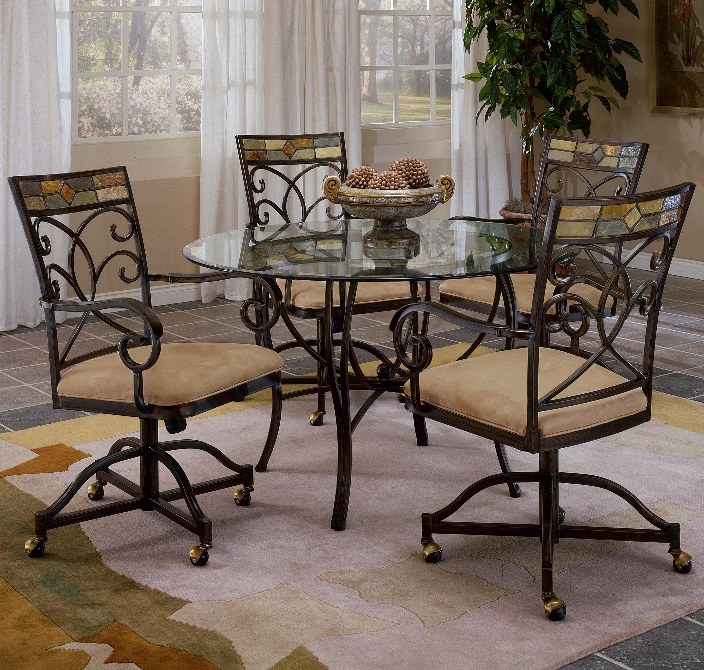 Hillsdale Pompei Scrolling 5 Piece Dining Set With Casters Westrich Furniture Appliances Dining 5 Piece Sets