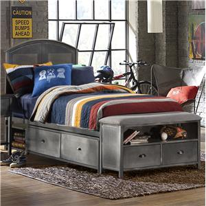 Morris Home Furnishings Urban Quarters Full Storage Bed Set with Footboard Bench
