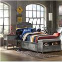 Morris Home Furnishings Urban Quarters Contemporary Full Storage Bed Set with Footboard Bench - Bed Shown May Not Represent Size Indicated