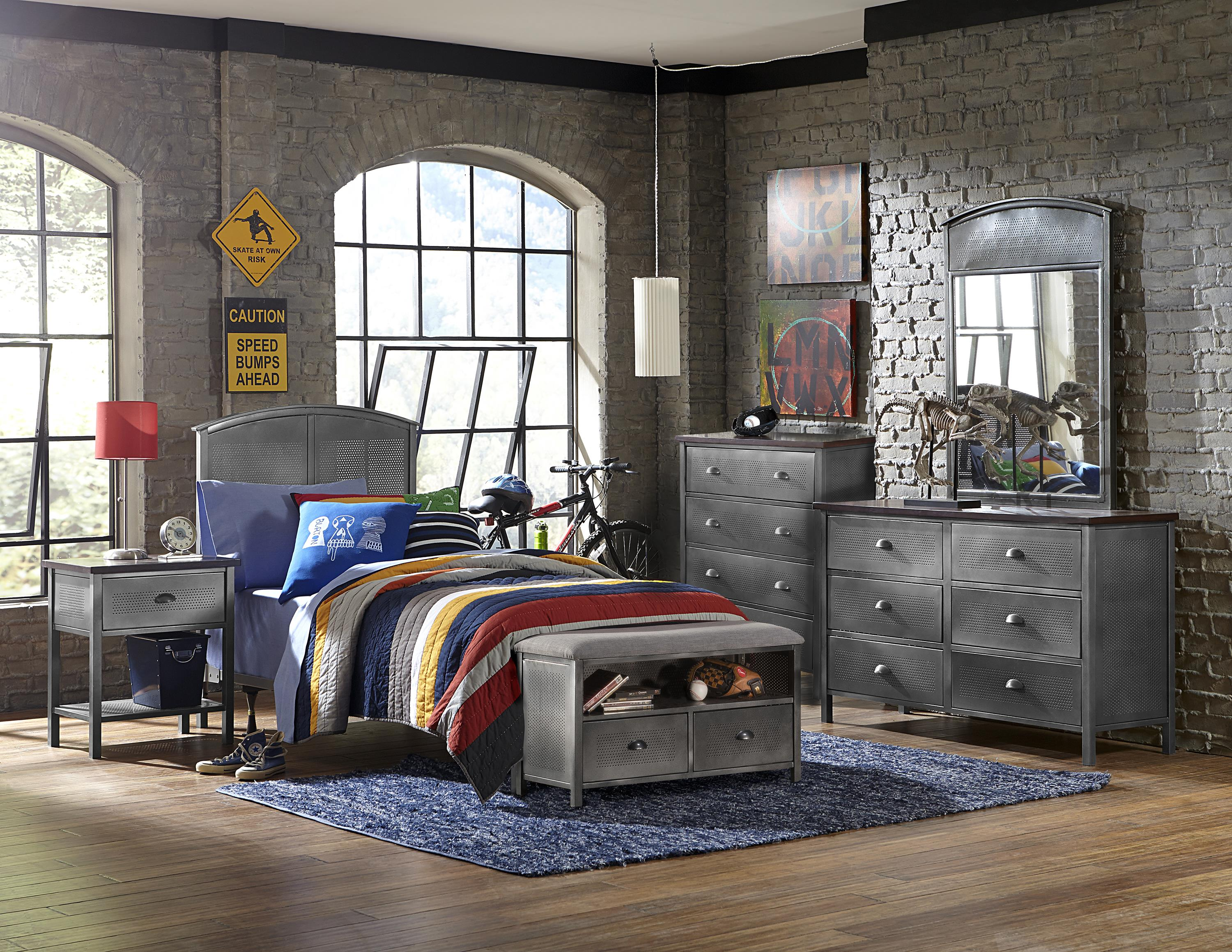 Hillsdale Urban Quarters Five Piece Panel Twin Bed Set with Bench - Item Number: 1265BTRPB5