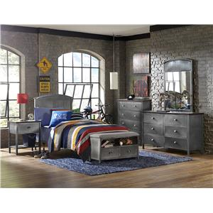 Morris Home Furnishings Urban Quarters Five Piece Panel Twin Bed Set with Bench