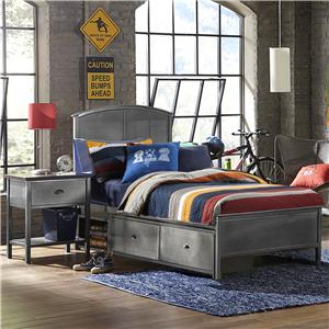 Morris Home Furnishings Urban Quarters Twin Panel Storage Bed with Rails