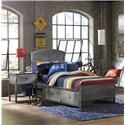Morris Home Furnishings Urban Quarters Contemporary Twin Panel Storage Bed with Rails - Bed Shown May Not Represent Size Indicated