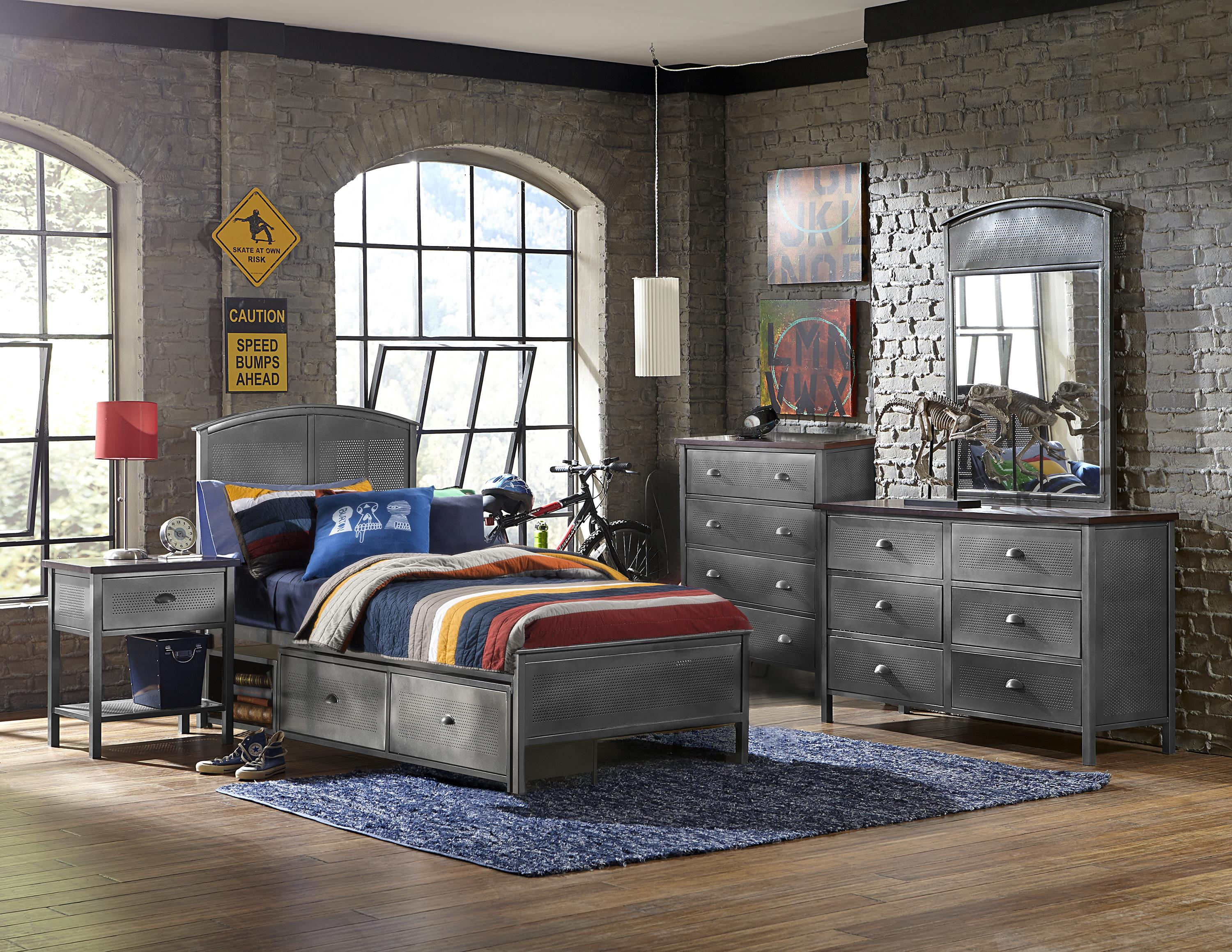 Five Piece Set with Twin Storage Bed