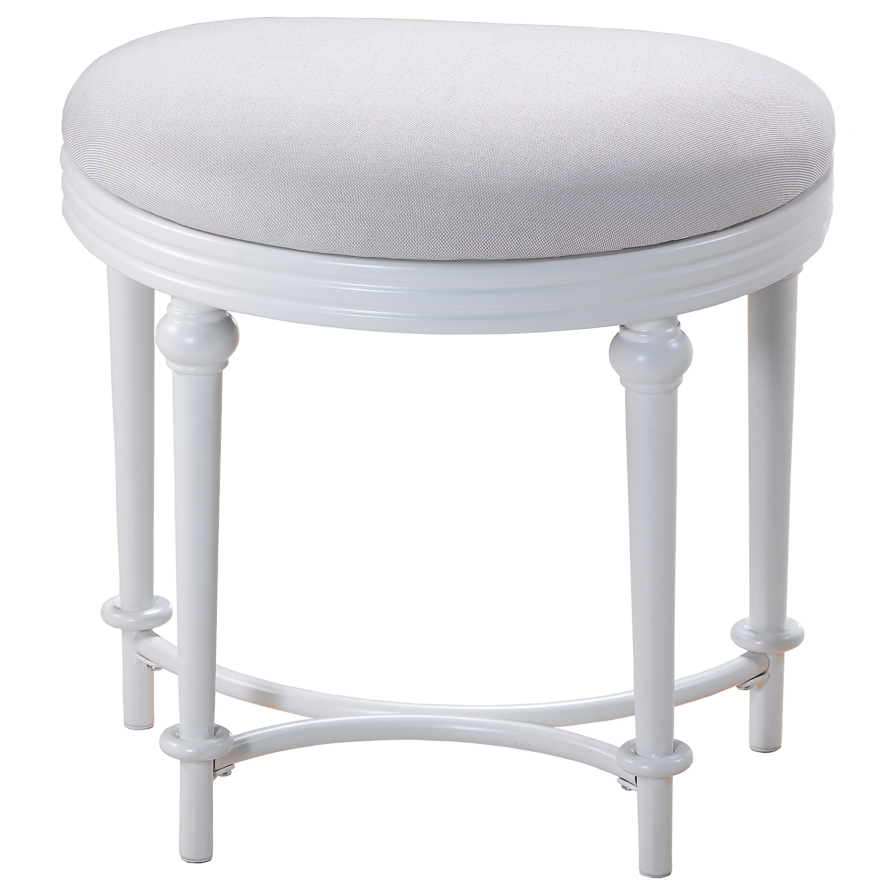 Hillsdale Vanity Stools Oval Vanity Stool With Upholstered Off White Seat Boulevard Home