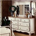 Hillsdale Wilshire Drawer Dresser w/ Brown Wood Top - 1172-717 - Shown with Mirror