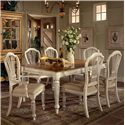 Morris Home Furnishings Wilshire Rectangle Two-Tone Double Leaf Dining Table - Shown with Craftsman Side Chairs and Craftsman Arm Chairs