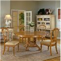 Hillsdale Wilshire Tall Sideboard Cabinet - 4508-855 - Shown with 5 Piece Round Dining Table Set (in Antique Pine Finish)
