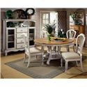 Morris Home Furnishings Wilshire Round Two-Tone Leaf Dining Table - Shown with Craftsman Side Chairs and Tall Country Baker's Cabinet