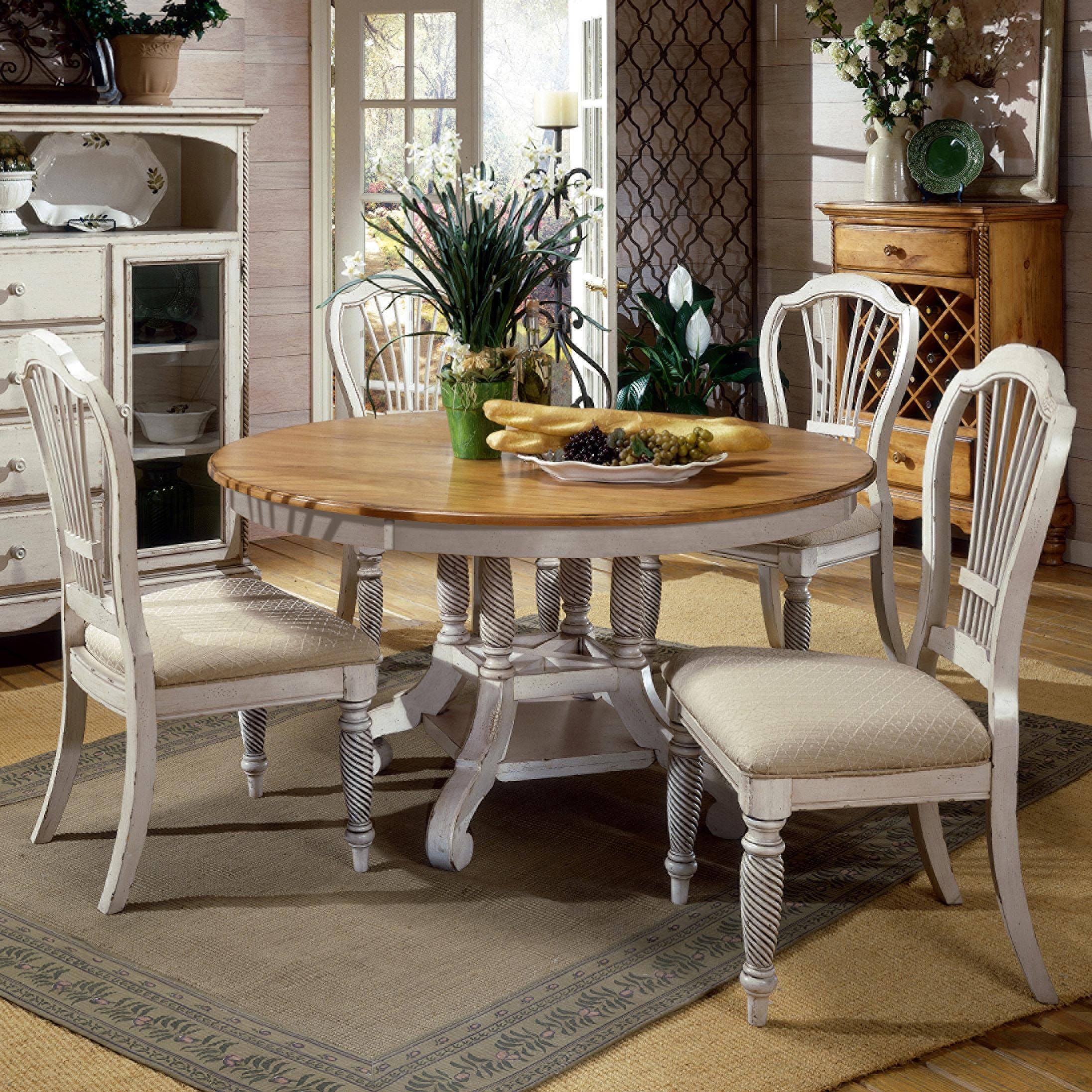 Hillsdale Wilshire 5 Piece Round Dining Table Set   Item Number:  4508DTBRNDC5