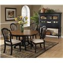 Morris Home Furnishings Wilshire Round Two-Tone Leaf Dining Table - Shown with Craftsman Side Charis and Tall Sideboard Cabinet