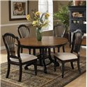 Morris Home Furnishings Wilshire 5 Piece Round Dining Table Set - Item Number: 4509DTBRNDC5