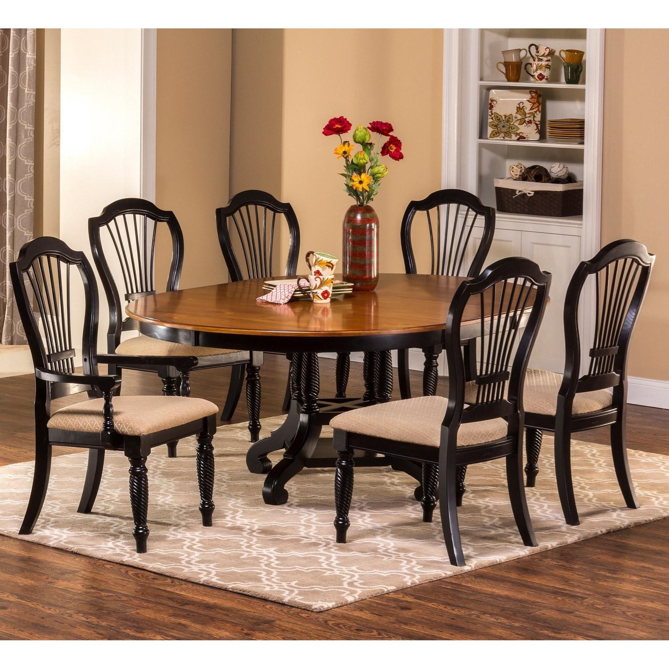 Hillsdale Wilshire 7 Piece Round Dining Set   Item Number: 4509DTBRNDC7