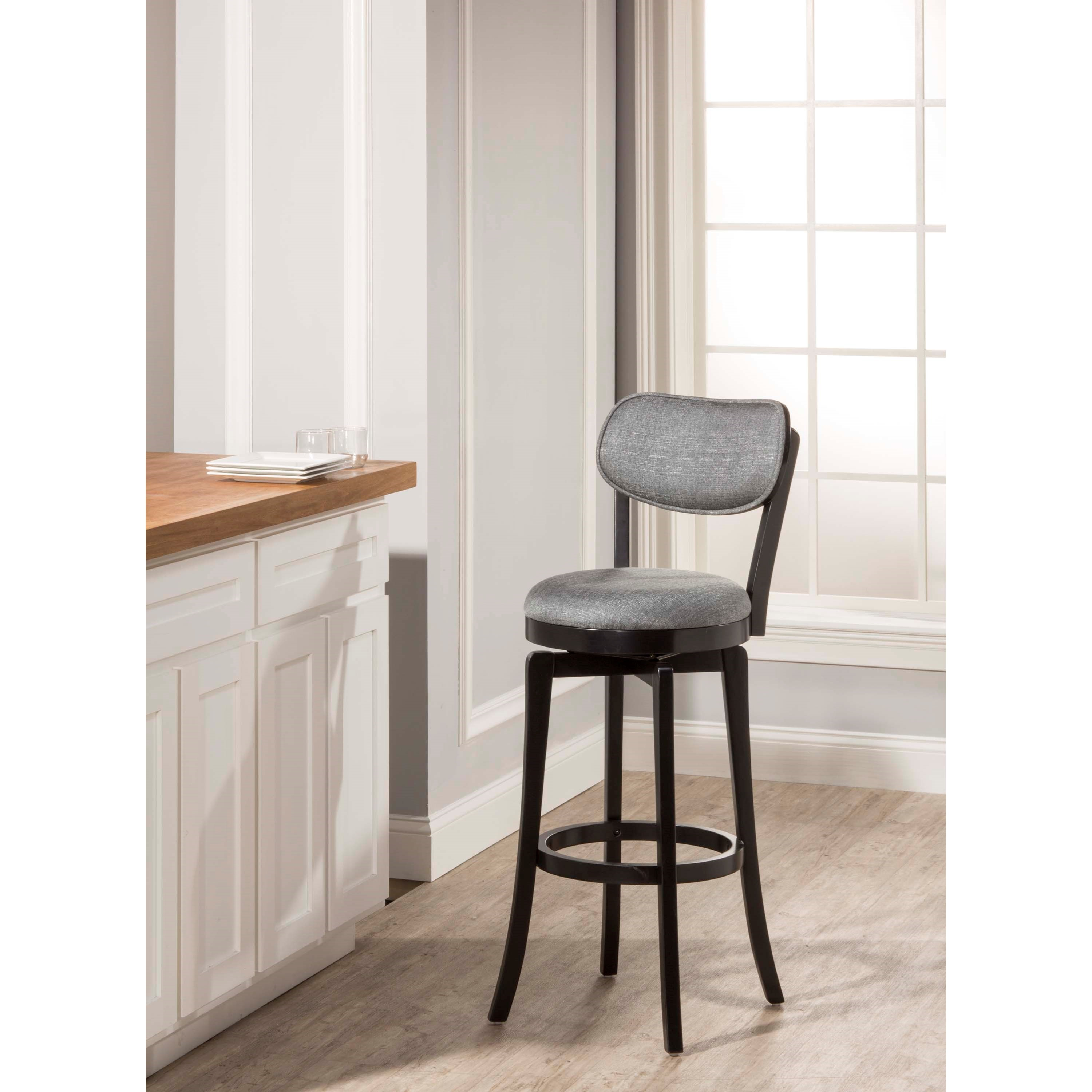Hillsdale Wood Stools Swivel Bar Stool With Gray Full Back