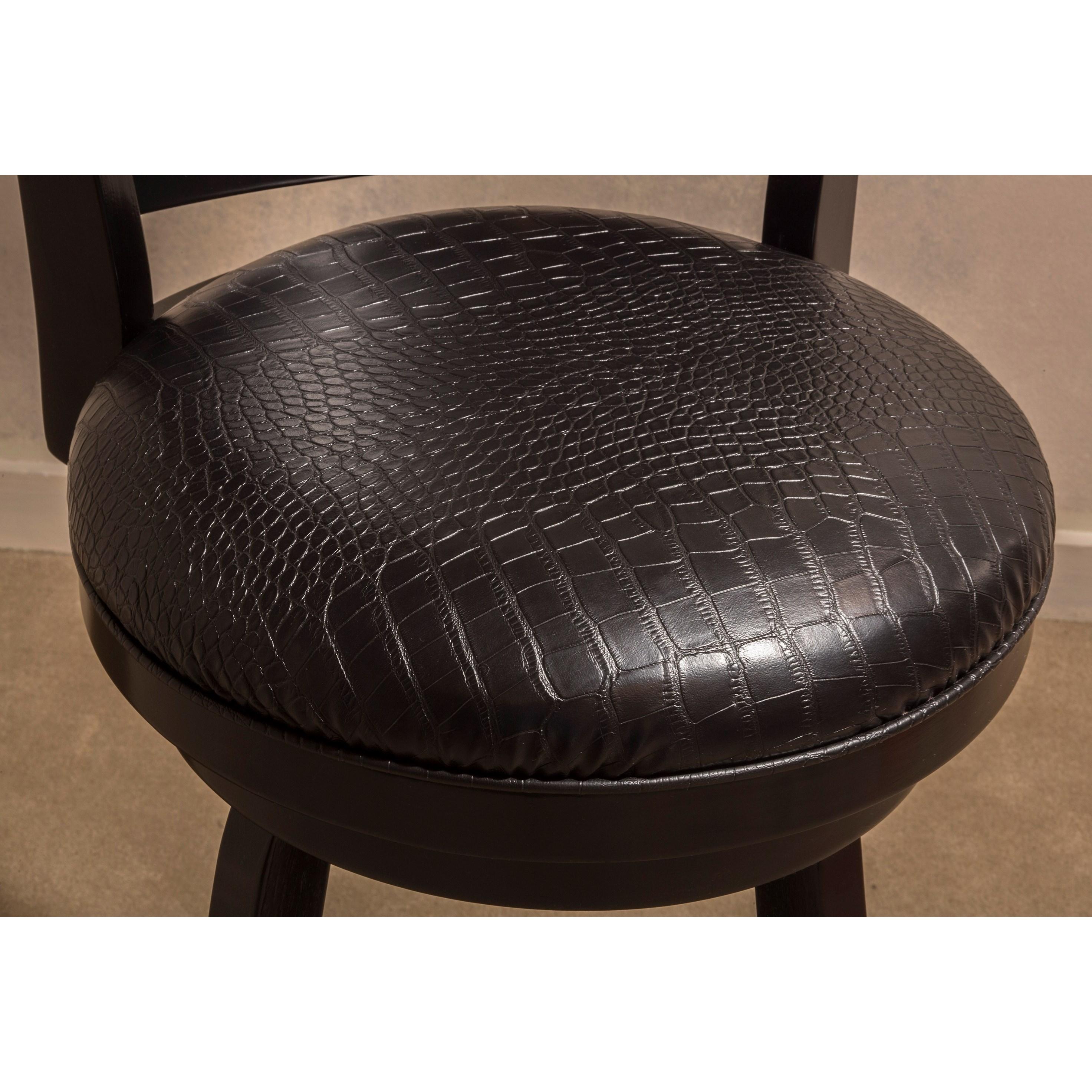 Hillsdale Wood Stools Fauz Leather Croc Skin Design Swivel