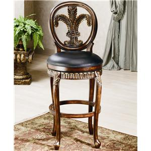 "Morris Home Furnishings Wood Stools 25"" Counter Height Fleur De Lis Stool"