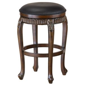 "Morris Home Furnishings Wood Stools 30"" Bar Height Fleur De Lis Backless Stool"