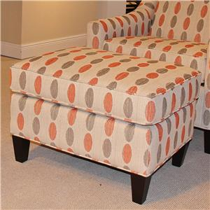 7596 Contemporary Ottoman with Tapered Wood Legs by HM Richards
