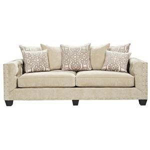Hm Richards Dynasty Contemporary Loose Pillow Back Stationary Sofa With Nailhead Accents