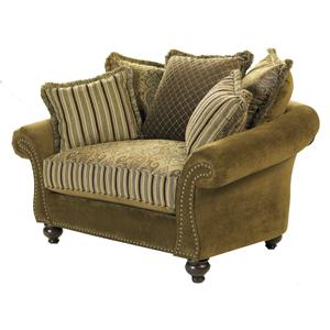 HM Richards Woodrow Stationary Chair With Varied Pillow Back Design