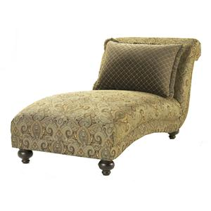 HM Richards Woodrow Chaise with Decoratively Turned Wood Legs